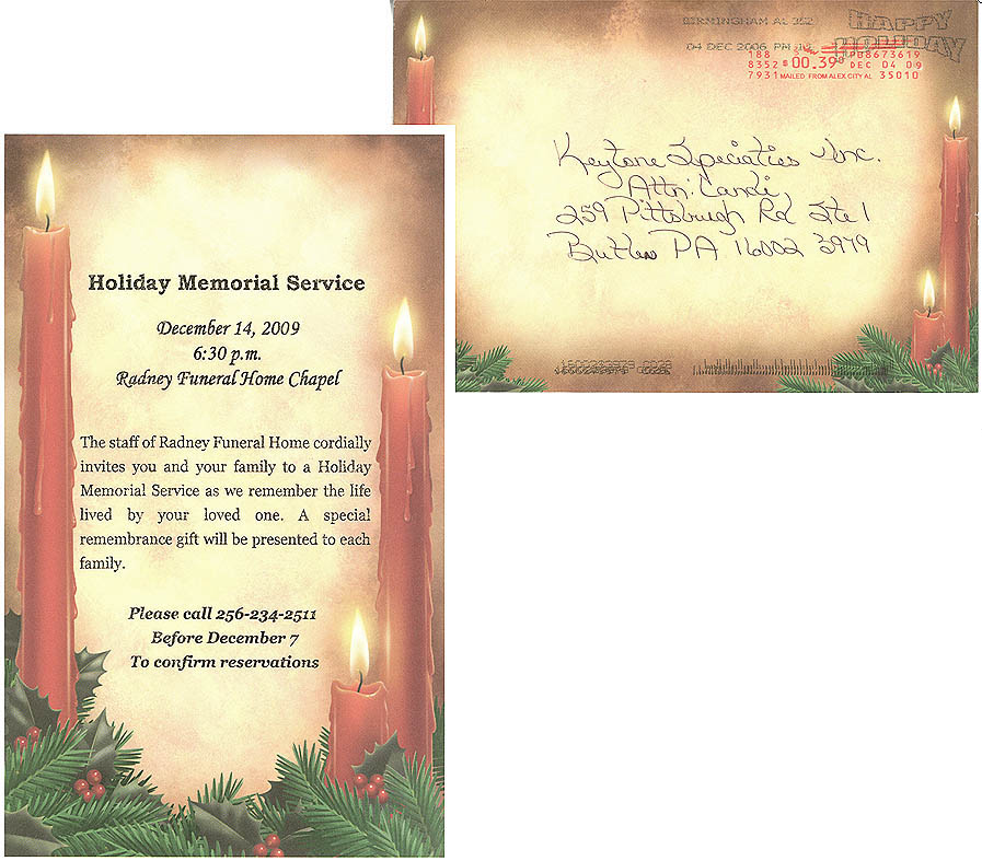 Memorial Service Invitations – Funeral Invitation Card