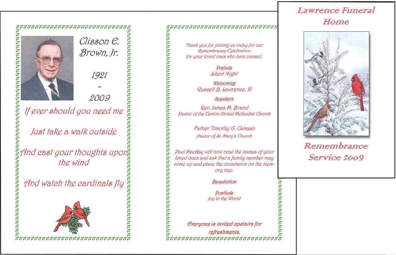 Memorial Service Programme Sample  Free Printable Memorial Service Programs